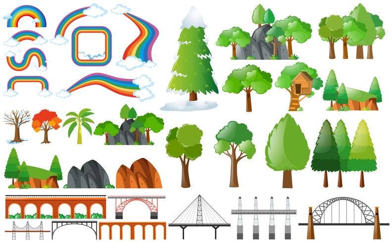 Rainbows, trees and design elements