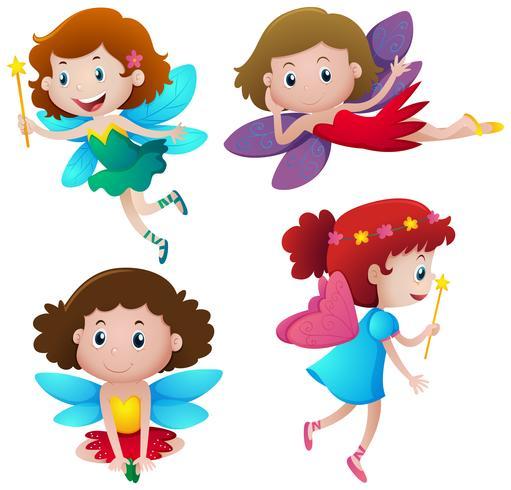 Vier schattige feeën vliegen