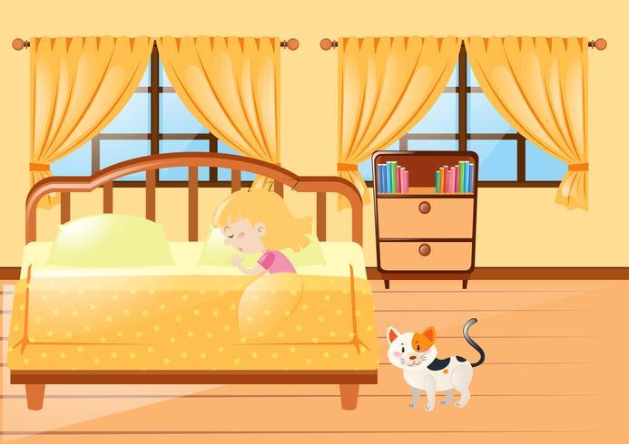 Meisjeslaap in gele slaapkamer
