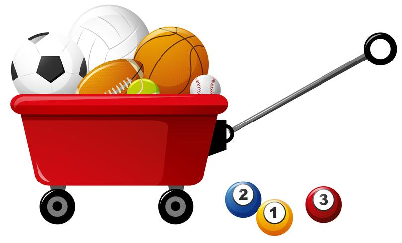 Verschillende soorten ballen op rode wagen