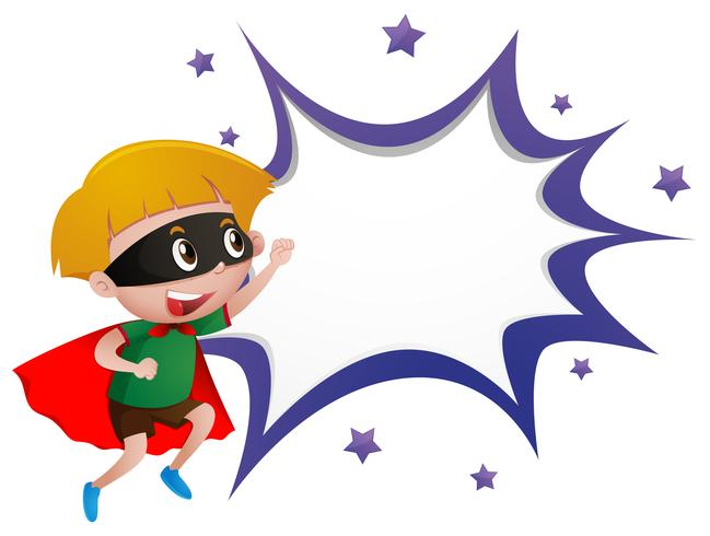 Border template with boy in hero costume