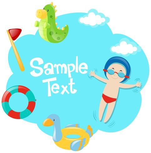 Paper template with boy in the pool