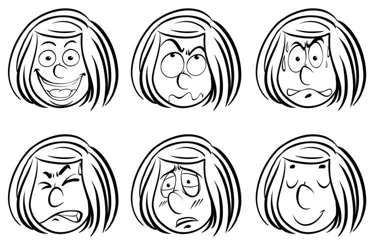 Doodle fille avec différentes expressions faciales
