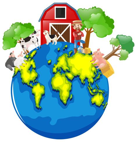Farmer and animals on the earth