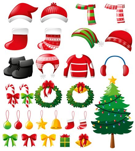 Kerstset met ornamenten en kleding vector
