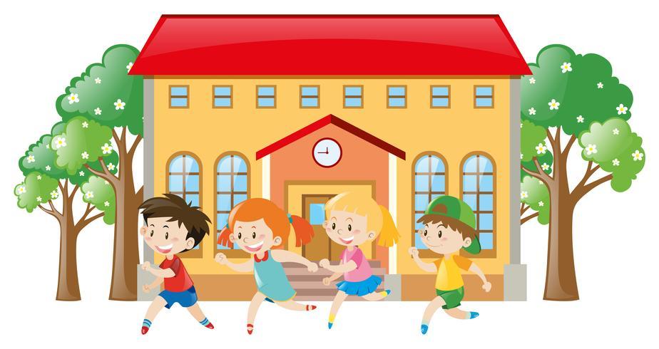 Barn som kör framför skolan vektor