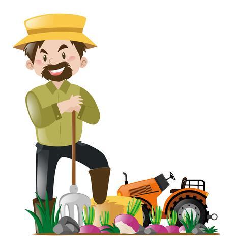 Bonde och traktor på gården