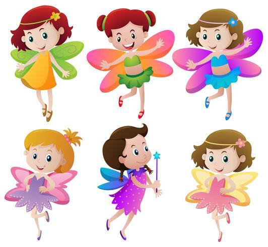 Seis fadas com asas coloridas