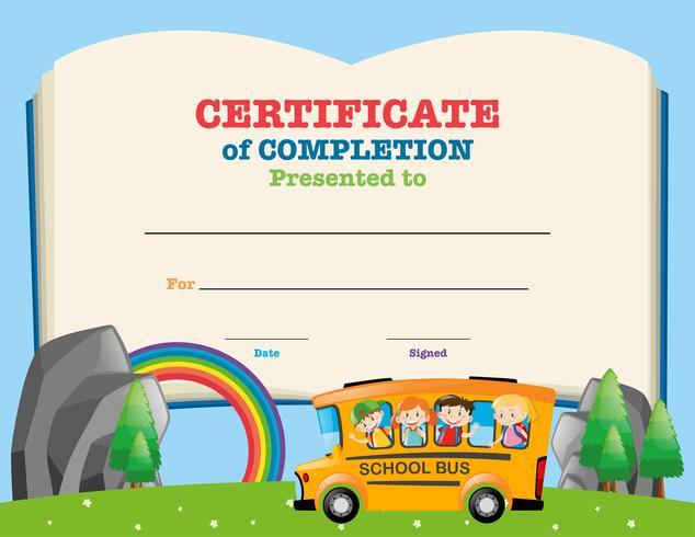 Plantilla de certificado con niños en el autobús escolar