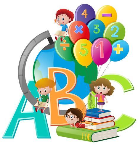 Niños y diferentes artículos escolares. vector