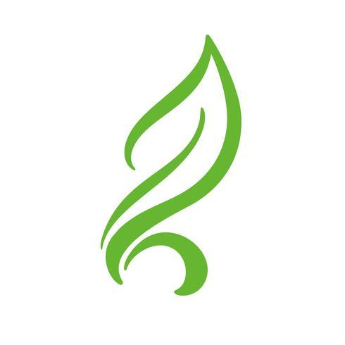 Logo av grönt blad av te. Ekologi naturelement vektor ikon. Eco veganisk bio kalligrafi handritad design illustration