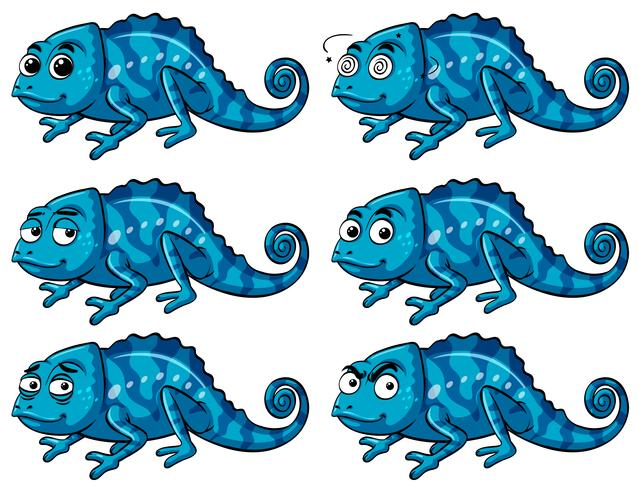 Blue lizard with six different emotions