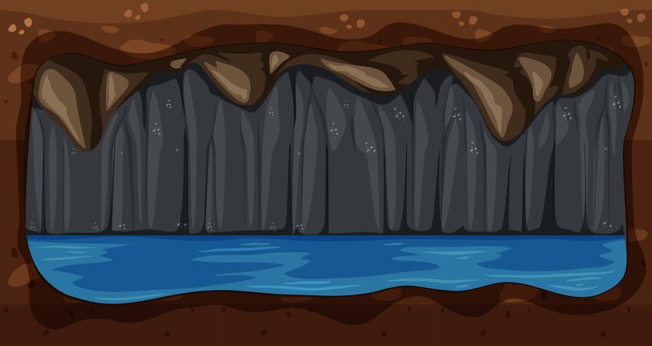 Een donkere ondergrondse watergrot Vector