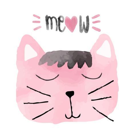idée de chat drôle d'aquarelle rose pour la carte
