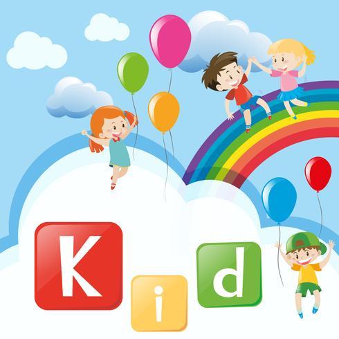 Wordcard con los niños en el arco iris