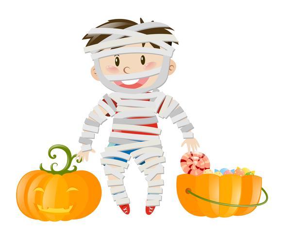 Thème Halloween avec un garçon en costume de zombie