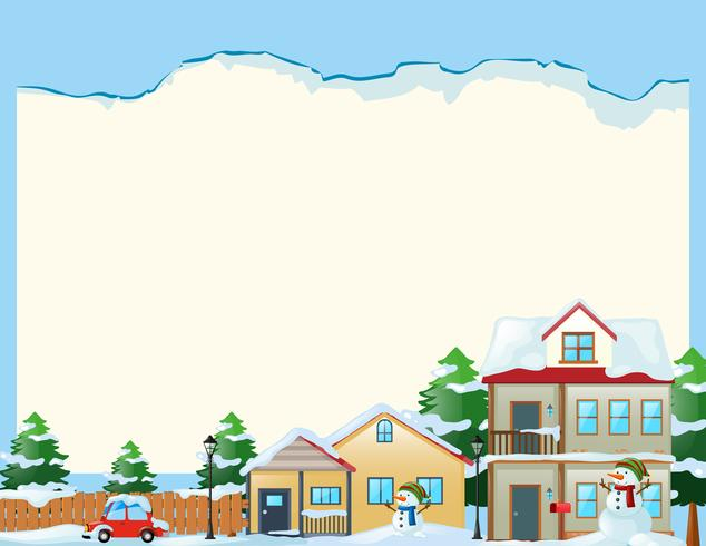 Border template with snow in the village