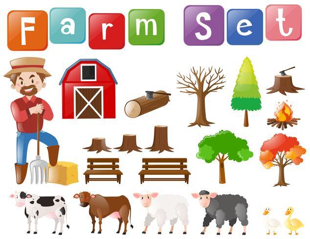 Conjunto de granja con granjero y otros elementos.