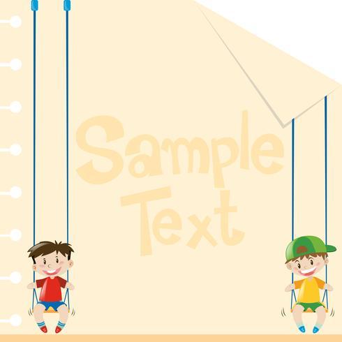 Papierdesign mit zwei Jungen auf Schaukeln