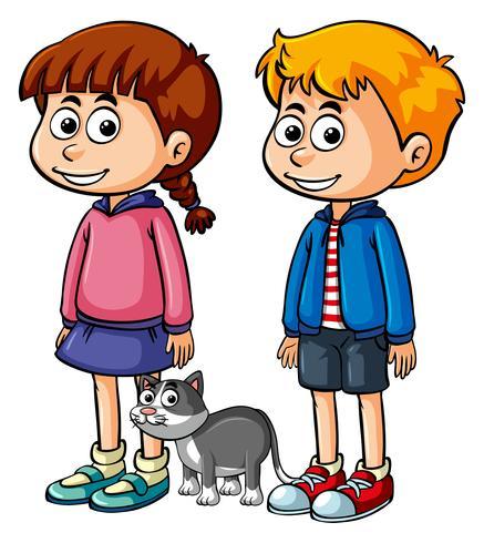 Två glada barn med grå katt vektor