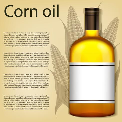 Uma garrafa realista de óleo de milho. Ilustração vetorial vetor