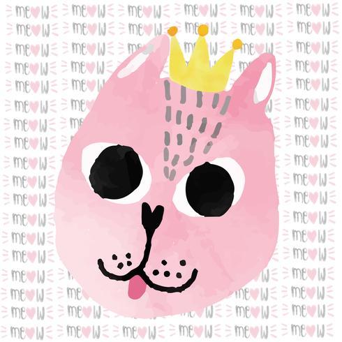 vattenfärg rosa roliga katt med krona grattis på födelsedagkortet vektor
