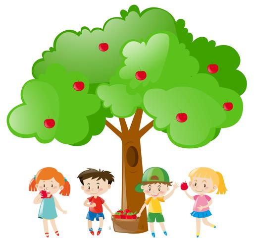 Barn plockar ut äpplen på trädet vektor