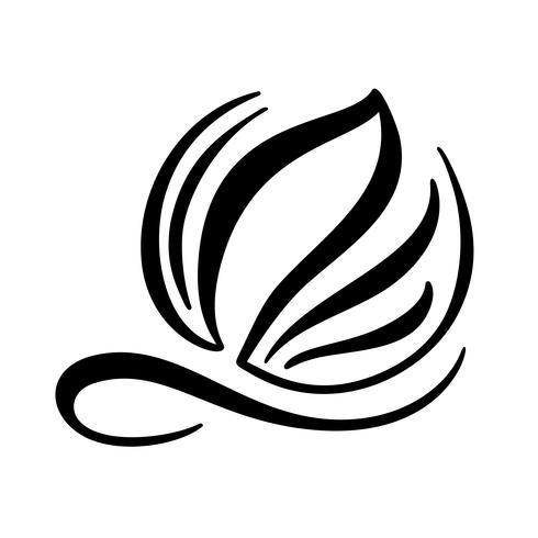 Logotipo de caligrafia de tinta preta mão desenhada do elemento de vetor de ecologia de folha. Projeto de ilustração para casamento e dia dos namorados, cartão de aniversário e web, ícone eco