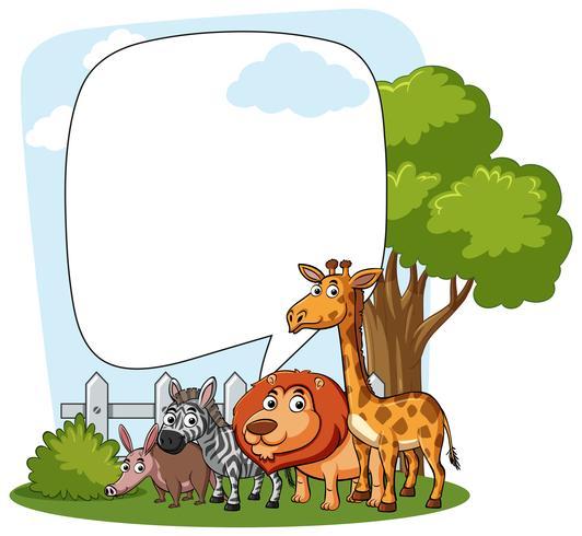 Modello di confine con animali selvatici vettore