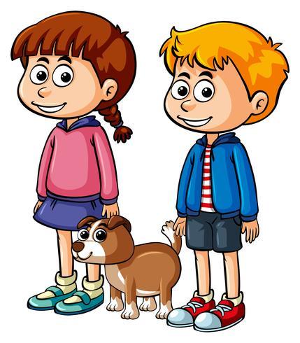 Crianças, com, cute, filhote cachorro vetor