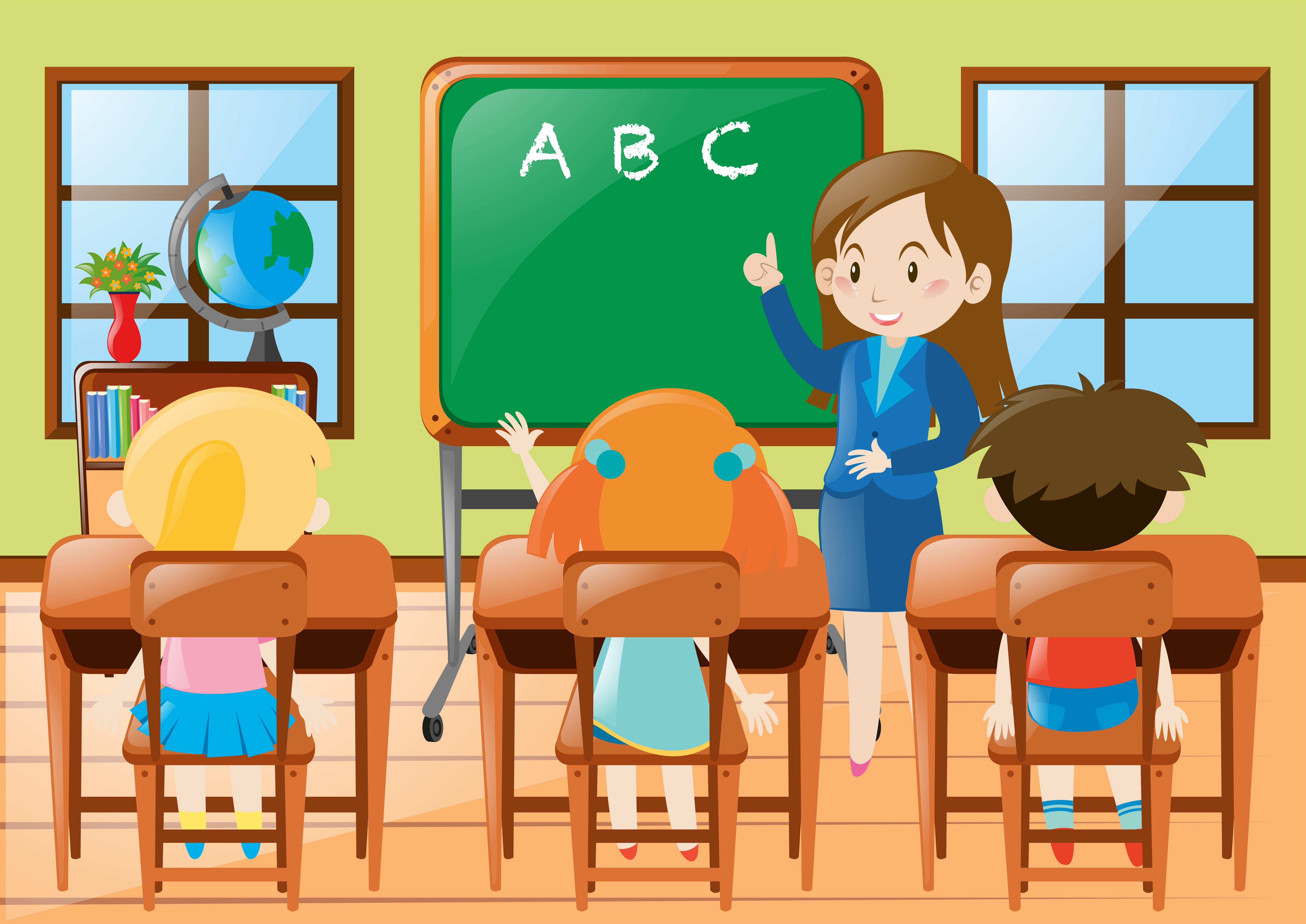 Teacher teaching kindergarten students in class - Download ...