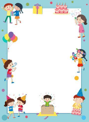 Grenzschablone mit glücklichen Kindern an der Party
