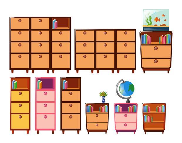 Verschillend ontwerp van boekenplanken