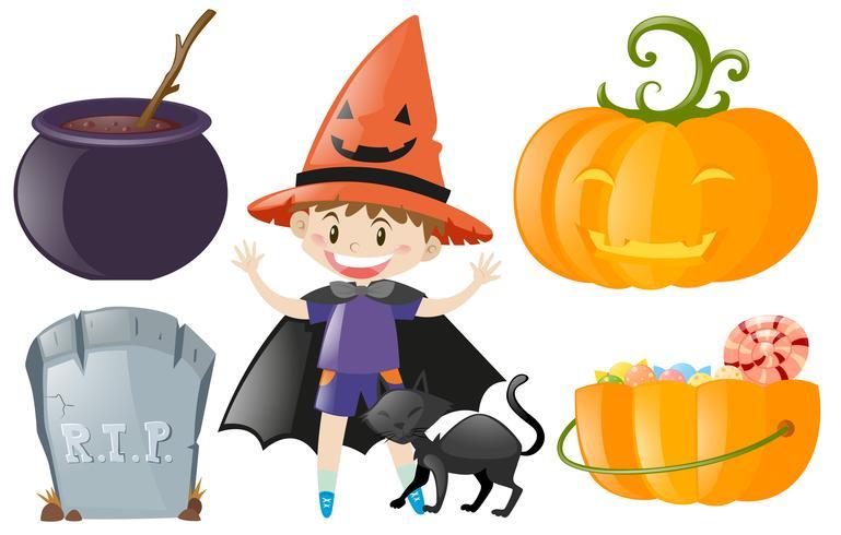 Halloween con niño disfrazado y calabaza.