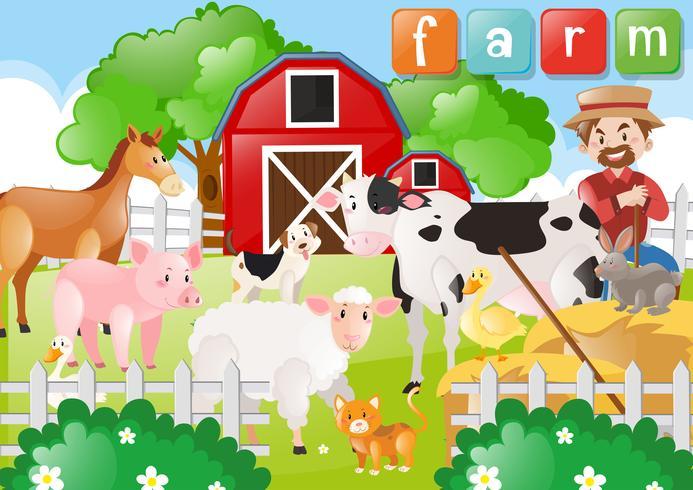 Granjero y animales de granja en la granja. vector