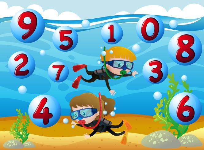 Kinder tauchen mit Zahlen im Meer