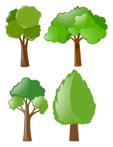 Verschiedene formen von bäumen