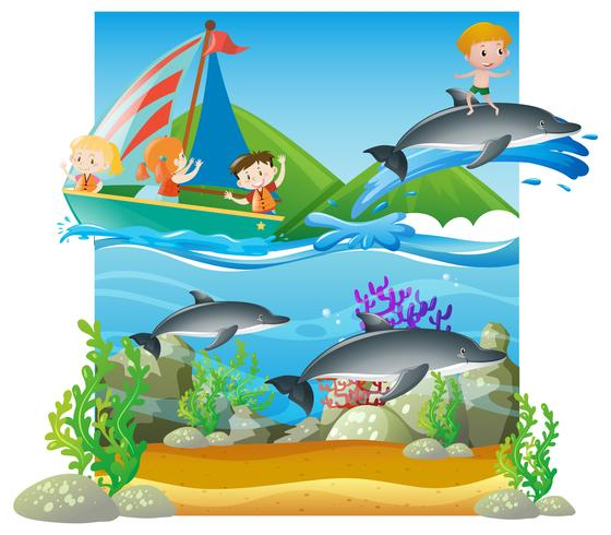 Summer scene with kids and dolphins