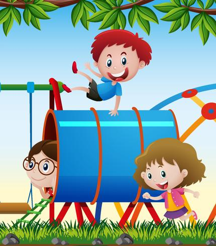 Three kids playing in the playground vector