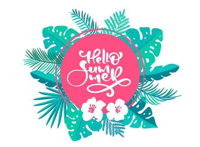 Text Hello summer in geometric floral exotic leaves frame vector