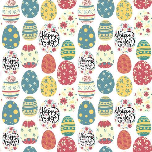 feliz Páscoa dia bonito ovos coloridos padrão sem emenda