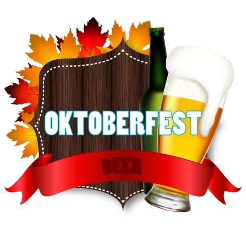 Ilustración para el festival Oktoberfes con un vaso y una botella de cerveza. vector