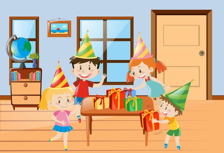 Children having party at home