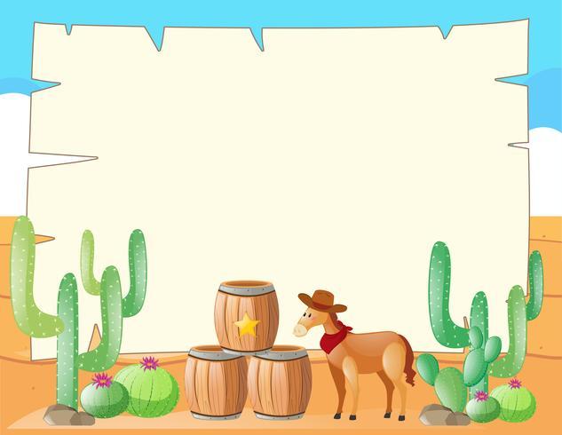 Rahmenschablone mit Pferd auf dem Gebiet