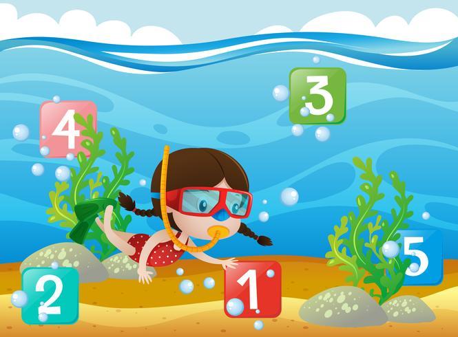 Räkna siffror med tjej dykning under vattnet vektor