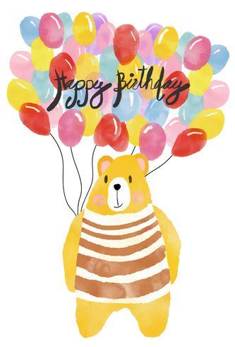 Acuarela tarjeta de feliz cumpleaños, oso con globos de colores