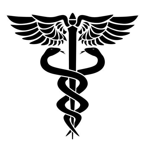 Medizinisches Symbol des Caduceus, mit zwei Schlangen, Personal und Flügeln, Vektorillustration