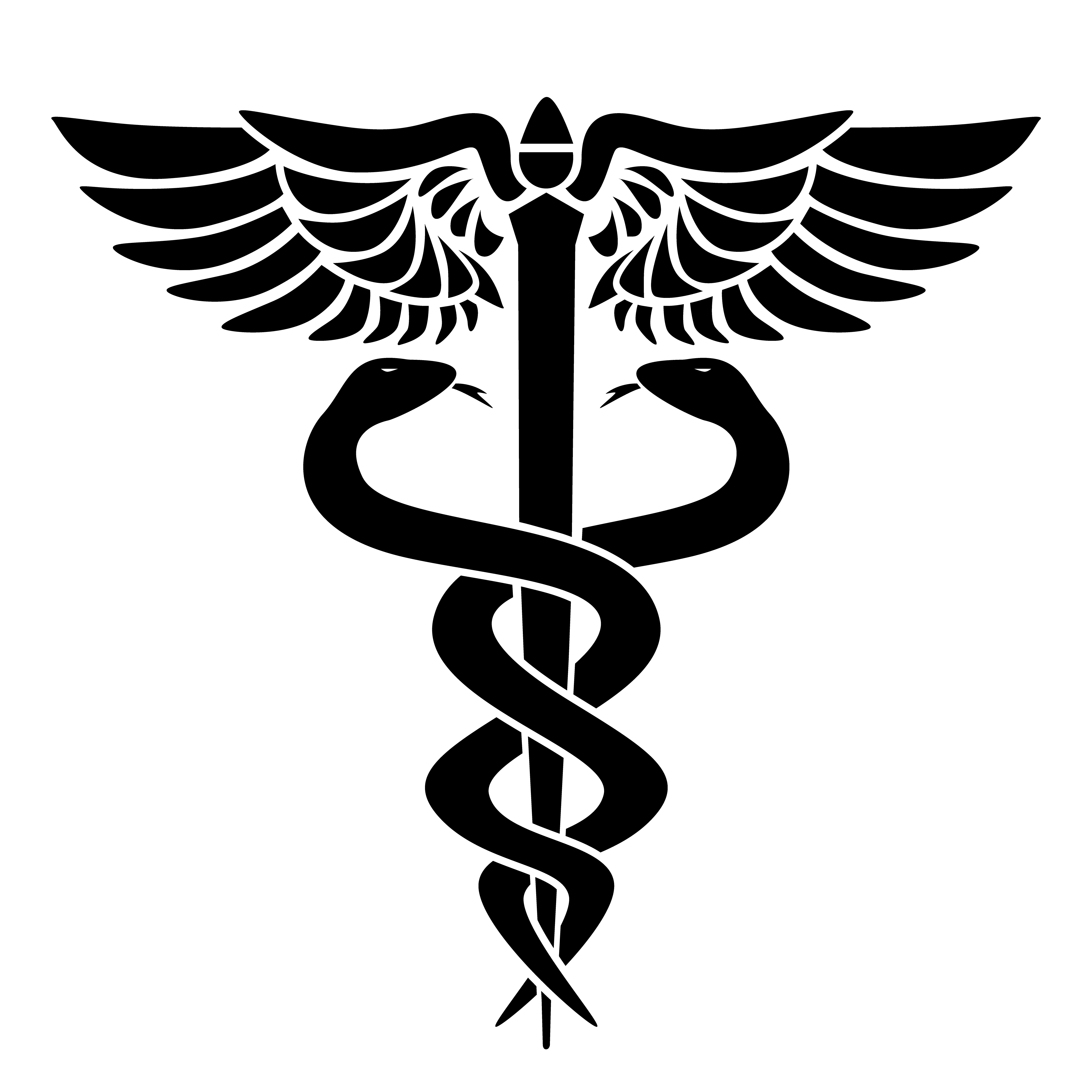 Caduceus medical symbol, with two snakes, staff and wings ...