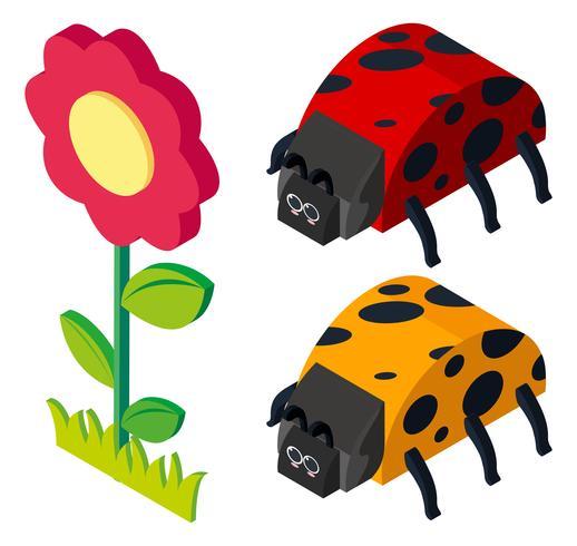 Diseño 3D para escarabajos y flores. vector