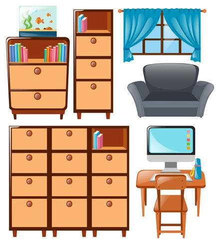 Set of cabinets and other furnitures vector